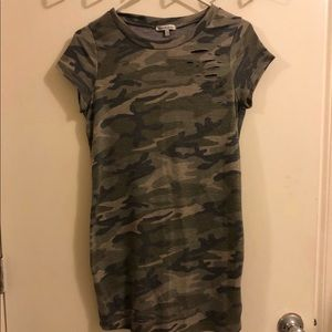 Distressed Camo T-shirt Dress by Charlotte Russe